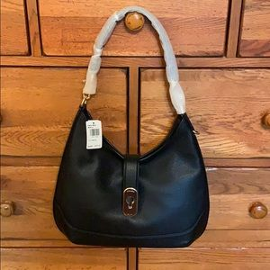 Coach Amber Hobo black pebbled leather. NWT